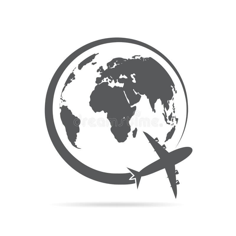 Flugzeugflugwesen um die Kugel Auch im corel abgehobenen Betrag lizenzfreie abbildung