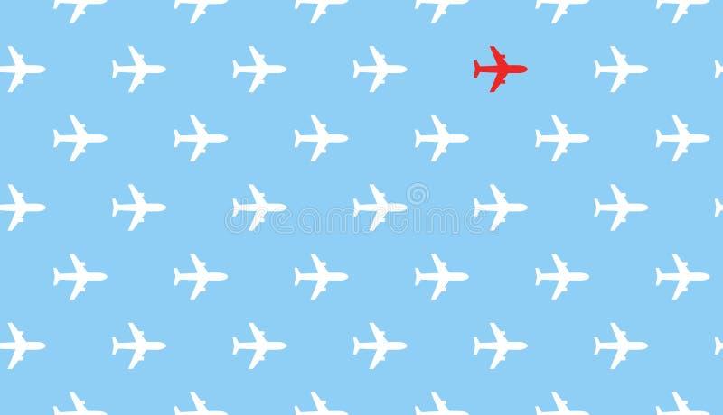 Flugzeuggruppenfliege in einer Richtung und in nur einem Flugzeug hob im Rot hervor und denkt, um Richtung auf blauen Himmel zu ä stock abbildung