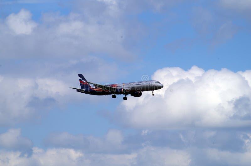 Flugzeuglandung in sheremetevo Flughafen stockfotos