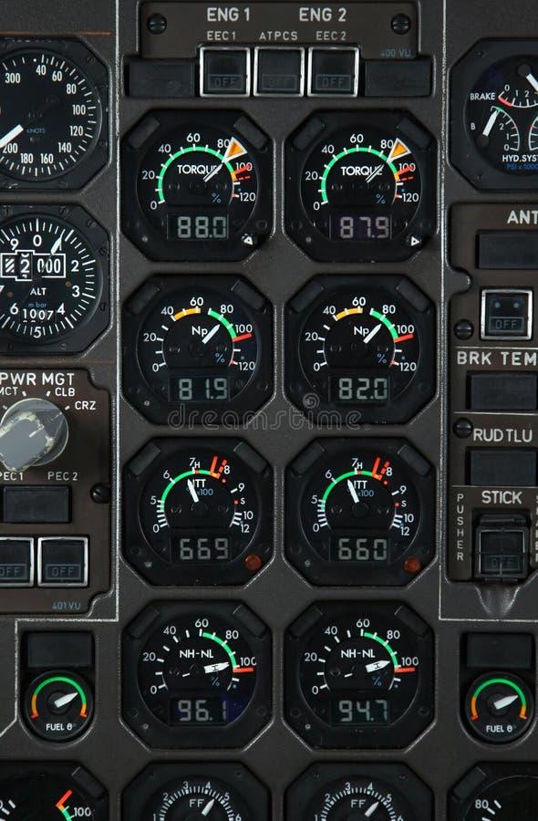 Flugzeugleistungpanel stockfotos
