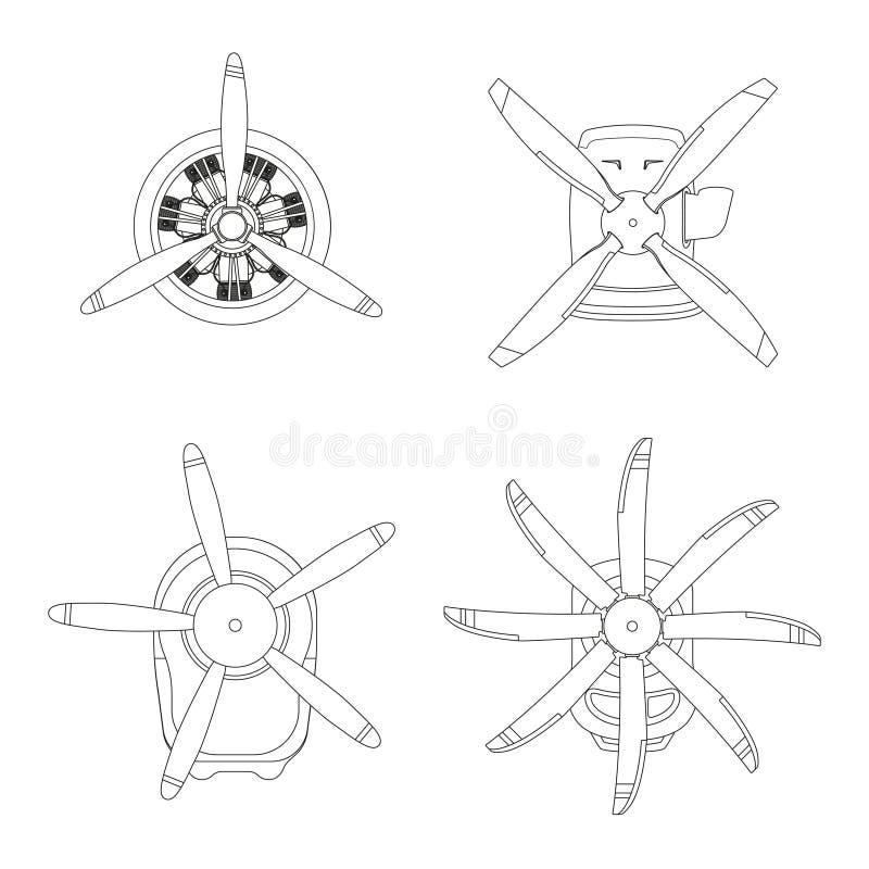 Flugzeugmotor in der Entwurfsart Umreißen Sie Zeichnung des Motors mit Propeller auf weißem Hintergrund stock abbildung