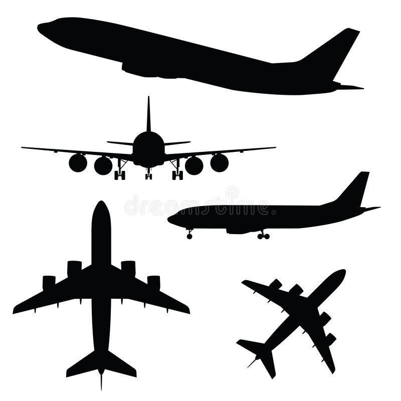 Flugzeugschattenbild in der unterschiedlichen Ansicht lizenzfreie abbildung