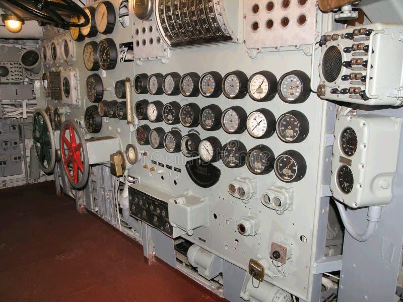 Flugzeugträger-Museumssteuerraum stockbilder