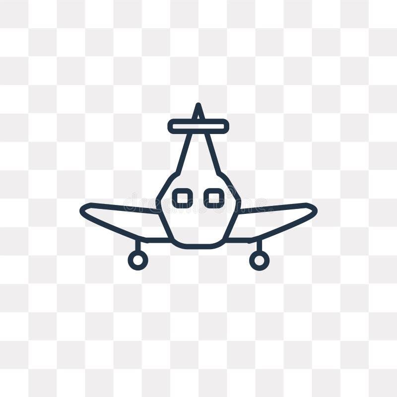 Flugzeugvektorikone lokalisiert auf dem transparenten Hintergrund, linear vektor abbildung