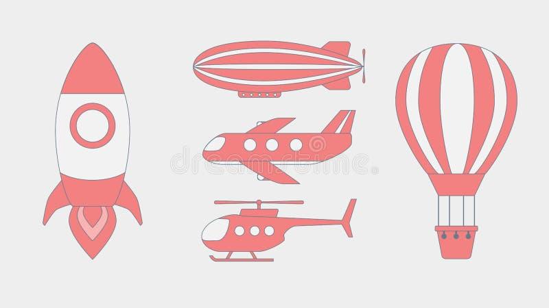 Flugzeugverkehr-Ikonen-flaches Design stockfotos