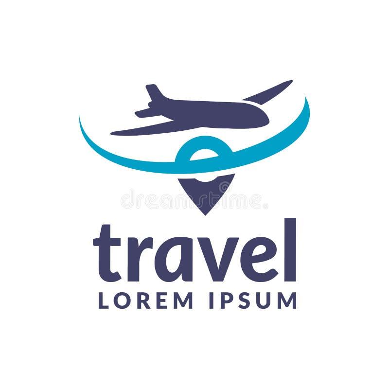 Flugzeugverkehrikone Reise-Logo Pin-Logo Standort auf Kartenlogokonzept Flache Ikone Flaches Zeichen Flacher Vektor Flugzeuglogo stockfoto