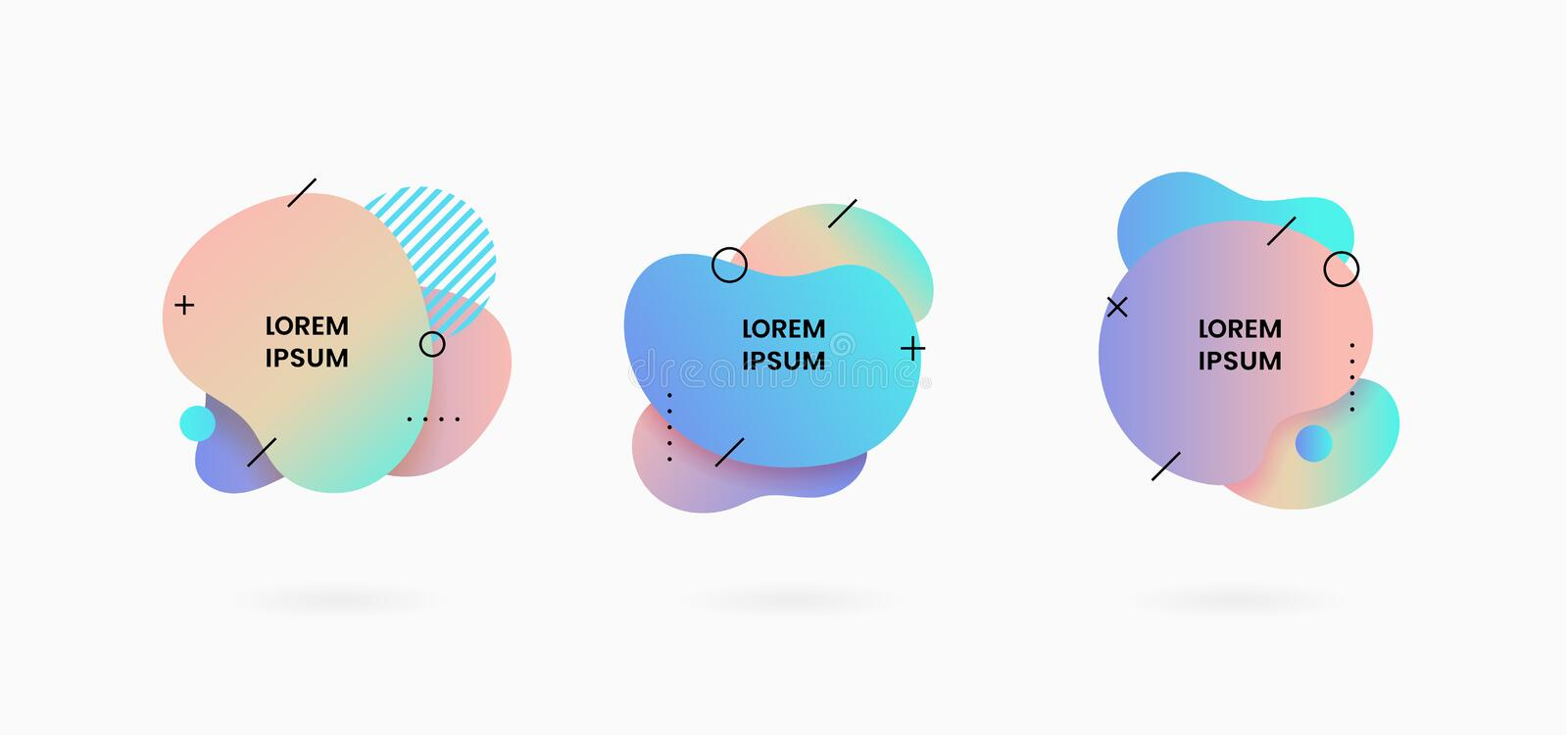 Fluid abstract dynamic shape badge background design. Soft gradient feminine color liquid geometric vector illustration royalty free illustration