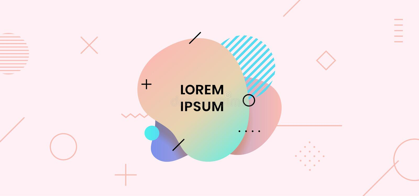 Fluid abstract dynamic shape trendy badge label design.Bright soft liquid gradient color with geometric element background vector vector illustration