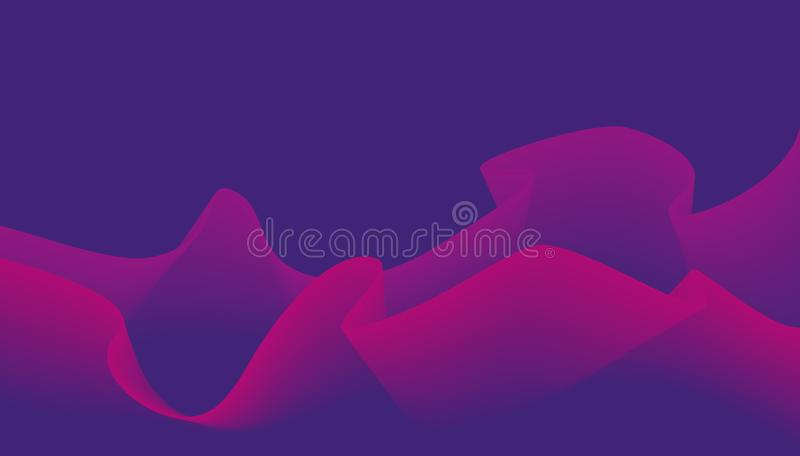 Fluid Colors with Blue Pink Violet Gradient Waves on Dark Background. Abstract Background. Perfect for Cover, Print stock photography