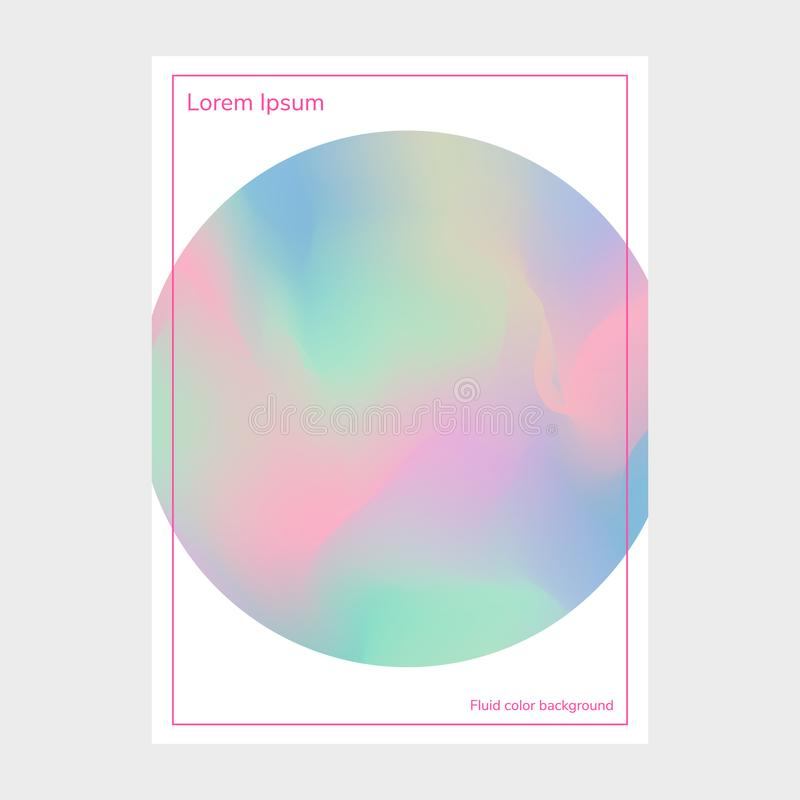 Fluid colors, blurred background, poster, gradient banner, postcard with round and frame, vector illustration, pink, purple, blue stock illustration