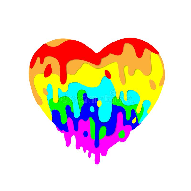 Fluid heart flowing, multicolored paint of colored figures on light background for Valentines day. Multicolor dripping. Stylish royalty free illustration