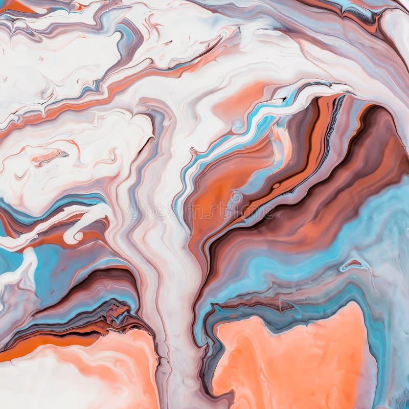 Fluid konst Abstrakt f?rgrik bakgrund eller textur Vit korall och blåa vågor royaltyfria bilder