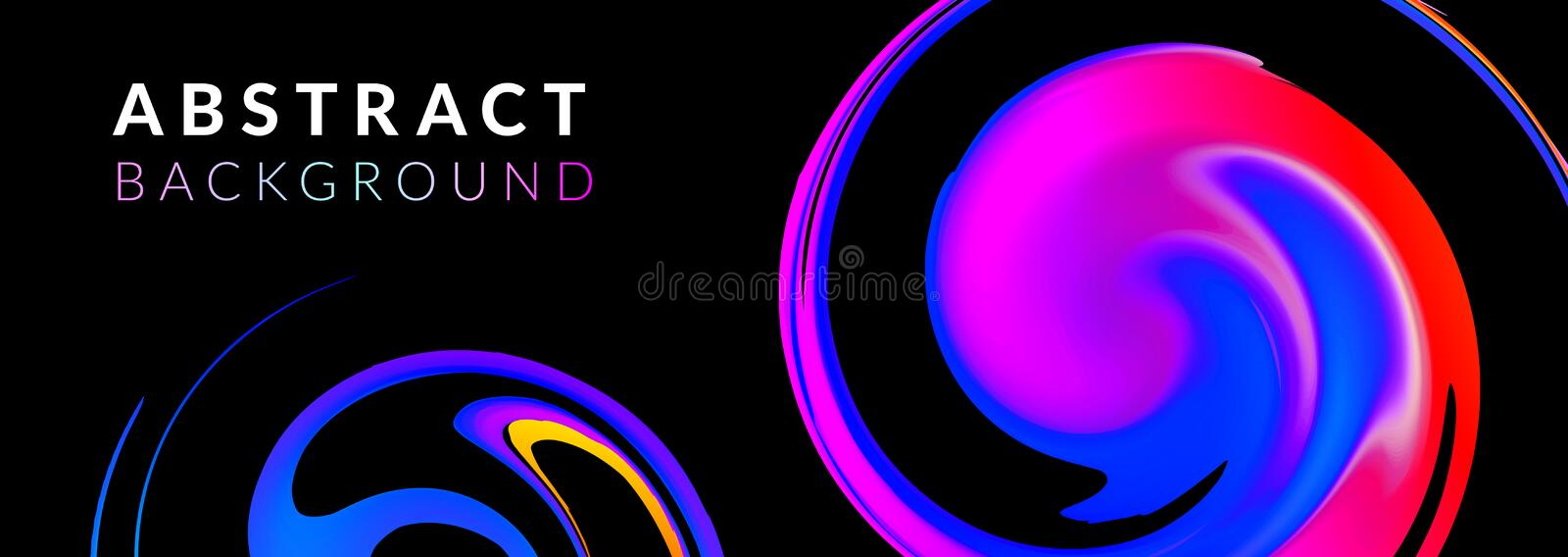 Fluid or liquid dynamic color abstract vector background. Trendy colourful flow design template. Spiral shape. Motion. Graphic and gradient. Horizontal banner vector illustration