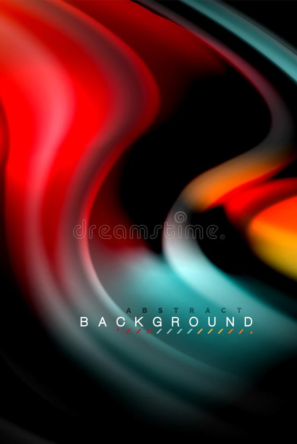 Fluid liquid colors design, colorful marble or plastic wavy texture background, glowing multicolored elements on black stock illustration