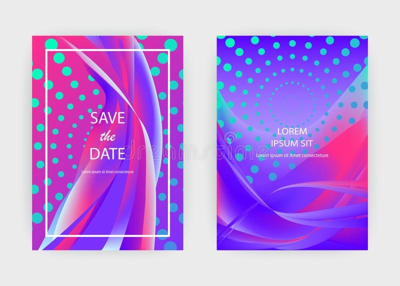 Fluid liquid shapes composition. Wavy geometric background. Colo. Rful abstract backdrop. Halftone circles elements. Trendy gradient waves template vector Poster stock illustration