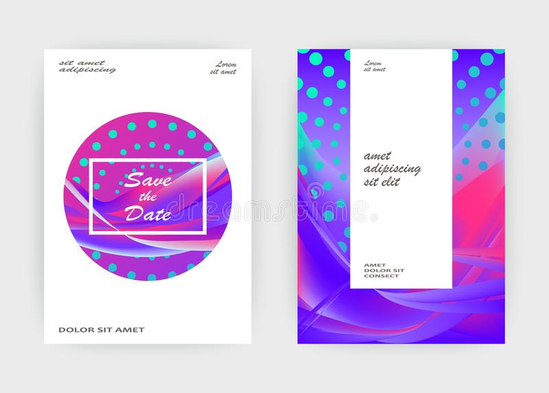 Fluid liquid shapes composition. Wavy geometric background. Colo. Rful abstract backdrop. Halftone circles elements. Trendy gradient waves template vector Poster royalty free illustration