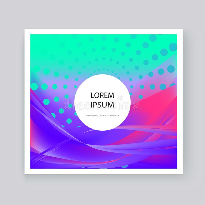 Fluid liquid shapes composition. Wavy geometric background. Colo. Rful abstract backdrop. Halftone circles elements. Trendy gradient waves template vector Poster vector illustration