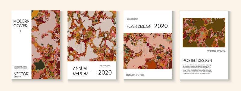 Fluid Paint, Clay Textur Vector Decklayout Trendy Magazine, Music Poster Template Ökologie-Poster des modernen Earth Day stock abbildung