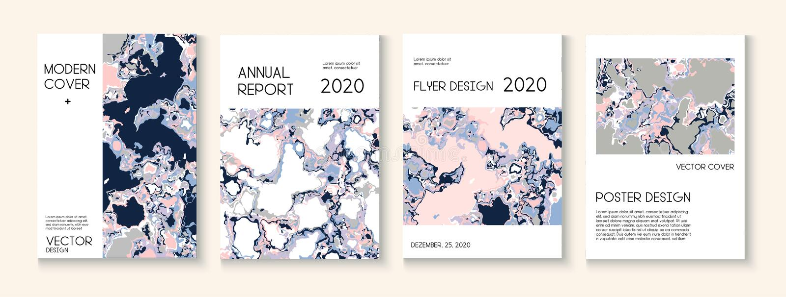 Fluid Paint, Clay Texture Vector Cover Layout. Trendy Magazine, Music Poster Template. Modern Earth Day Ecology Poster. Geographic Map Fluid Paint Vector Cover vector illustration