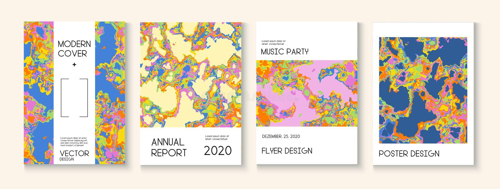 Fluid Paint, Clay Texture Vector Cover Layout. Trendy Magazine, Music Poster Template. Modern Earth Day Ecology Poster stock images