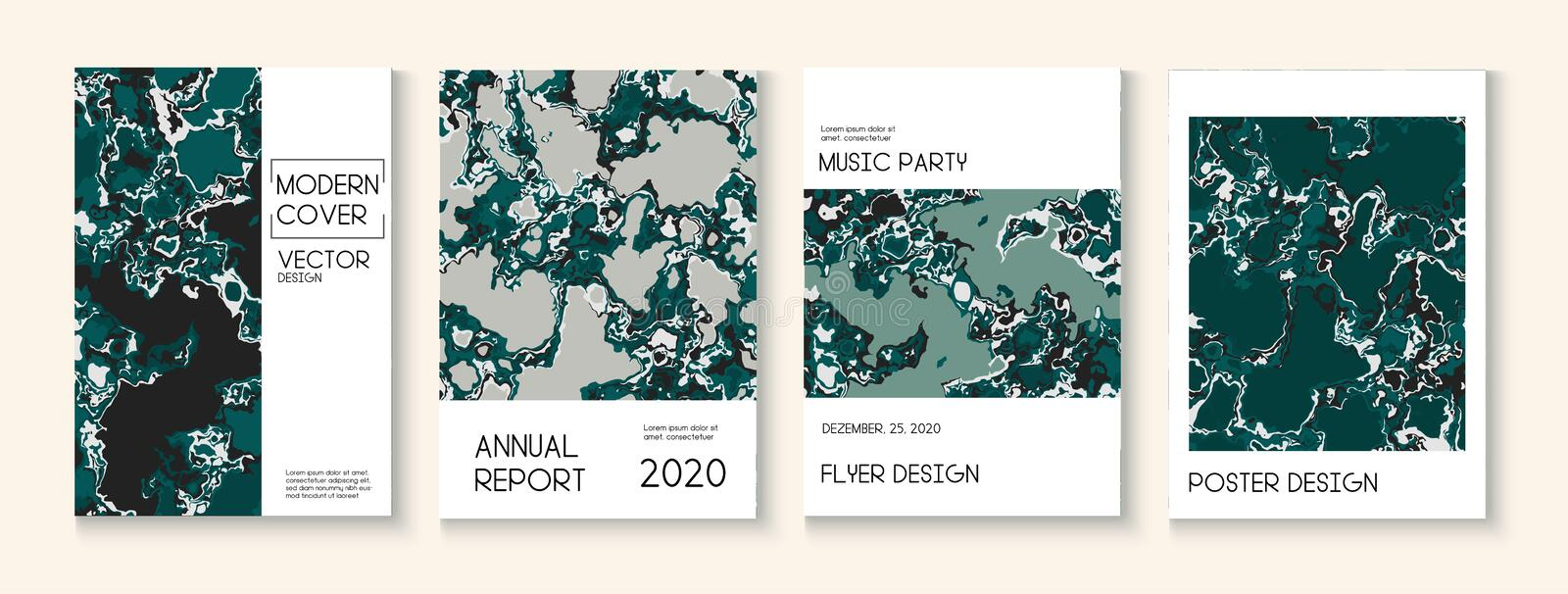 Fluid Paint, Clay Texture Vector Cover Layout. Trendy Magazine, Music Poster Template. Modern Earth Day Ecology Poster stock image