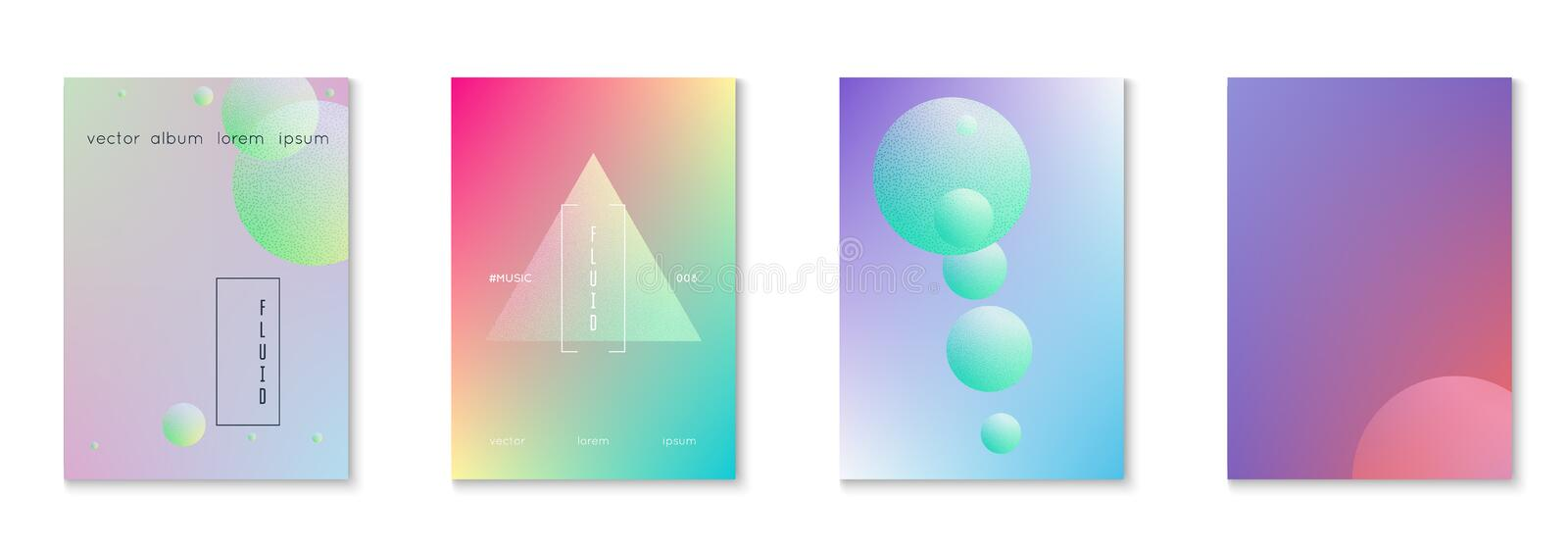 Fluid poster set with round shapes vector illustration