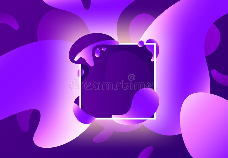 Fluid shape frame. Colorful liquid purple shapes frames design. Modern abstract color gradients vector background royalty free illustration