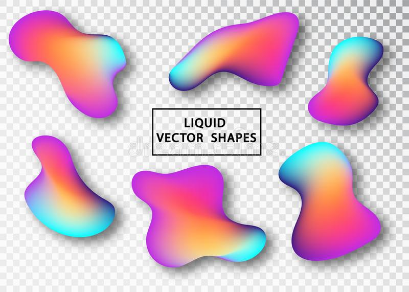 Fluid shape layout isolated template set. Colorful abstract shapes. Futuristic trendy dynamic elements. Liquid gradient royalty free illustration