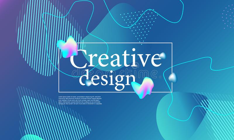 Fluid shapes composition. Wavy cover design. Fluid shapes composition. Wavy abstract cover design. Creative colorful wallpaper. Trendy gradient poster. Vector stock image
