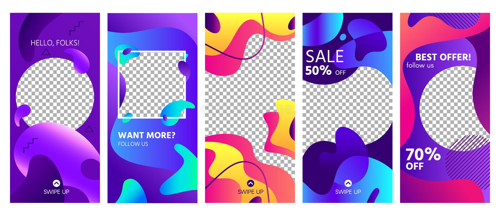 Fluid shapes stories template. Colorful abstract shape social media story posts trends, photo frames templates layout vector illustration