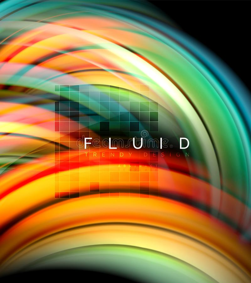 Fluid smooth wave abstract background, flowing glowing color motion concept, trendy abstract layout template for. Business or technology presentation or web stock illustration
