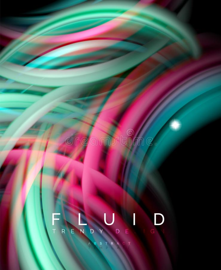 Fluid smooth wave abstract background, flowing glowing color motion concept, trendy abstract layout template for stock illustration