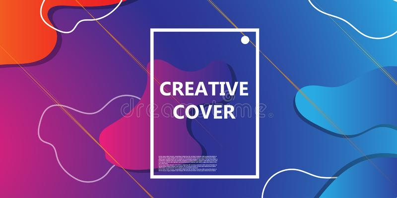 Fluid vector background abstract design gradient. Colorful shape poster dynamic illustration. Minimal geometric futuristic banner stock illustration