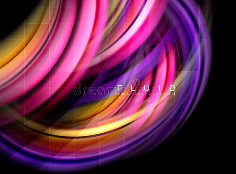 Fluido alise o fundo abstrato da onda, conceito de incandescência de fluxo do movimento da cor, molde abstrato na moda da disposi ilustração royalty free