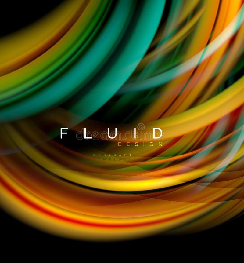Fluidu gładki falowy abstrakcjonistyczny tło, płynie rozjarzonego koloru ruchu pojęcie, modny abstrakcjonistyczny układu szablon  ilustracja wektor