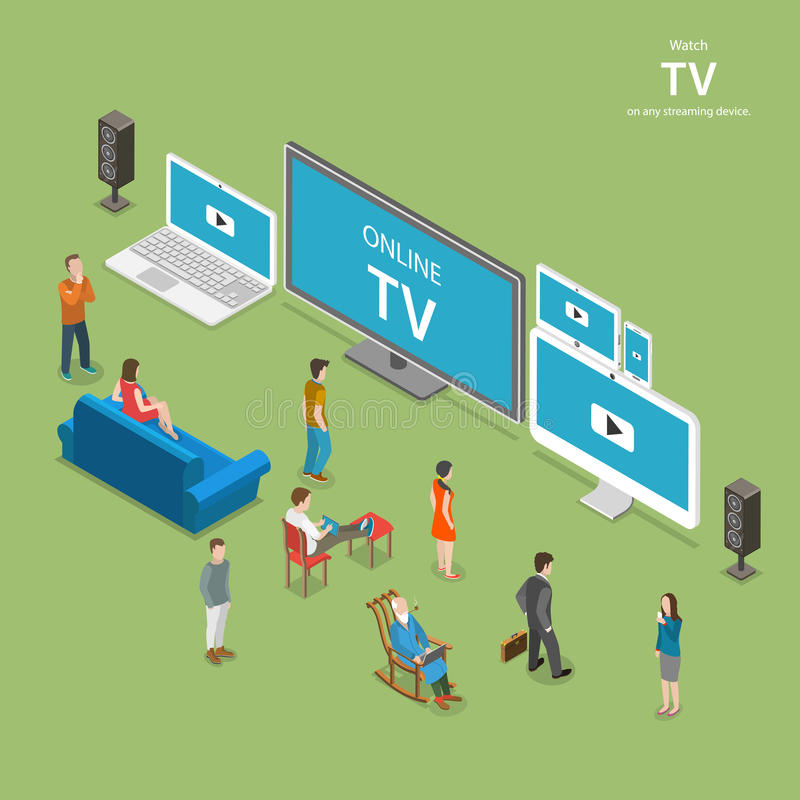Fluir el ejemplo plano isométrico del vector de la TV stock de ilustración