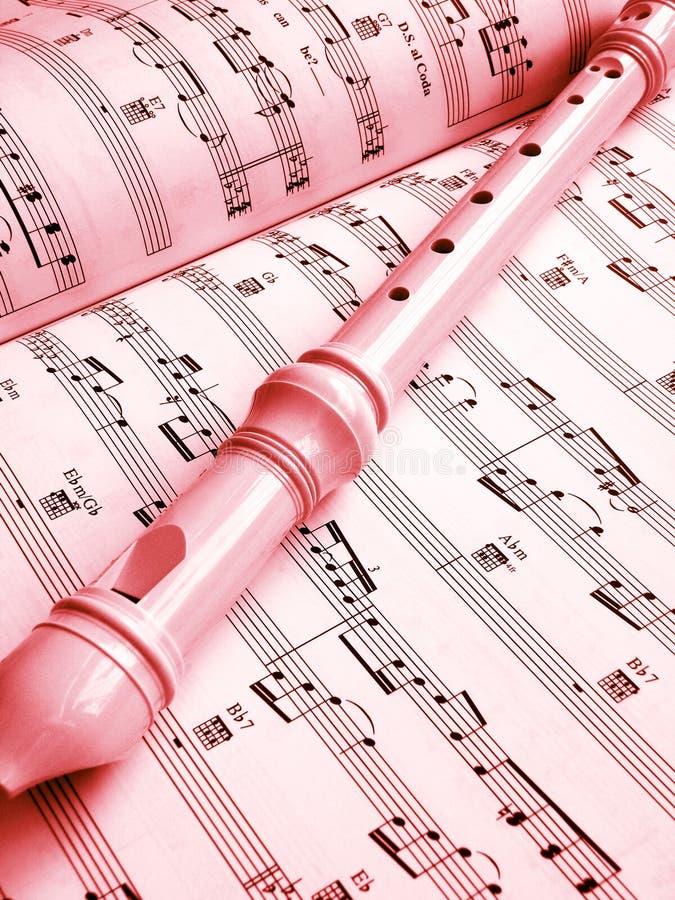 Fluit en muziekscore royalty-vrije stock afbeelding