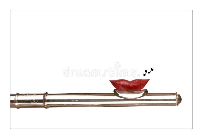 Fluit met rode lippen stock afbeelding
