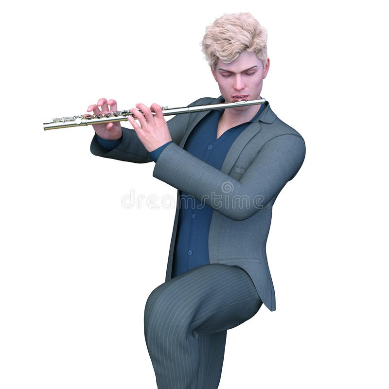 Fluitist met klassiek muzikaal instrument stock foto