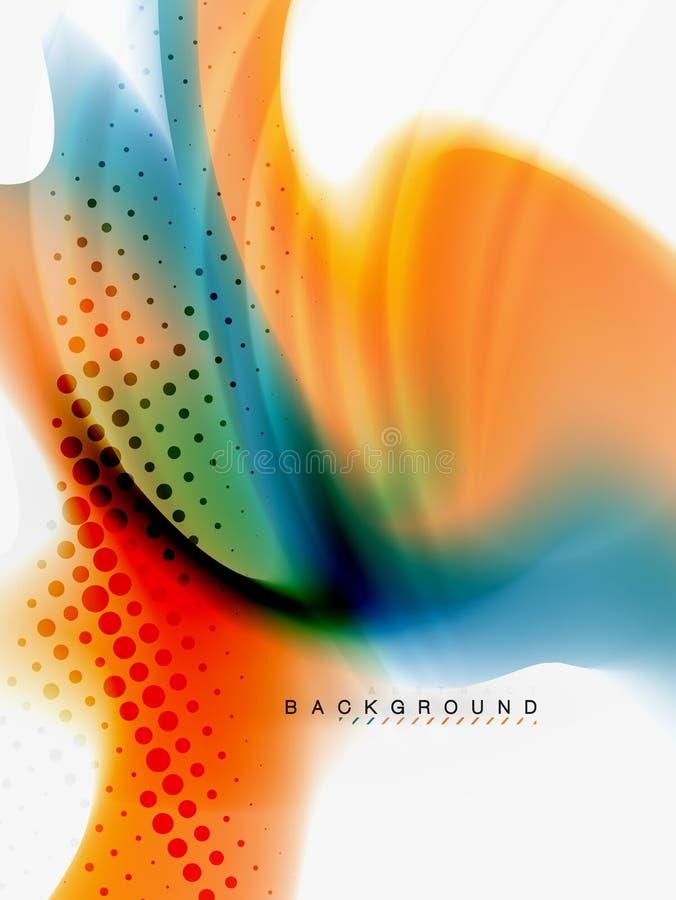 Flujo abstracto del color de fondo, diseño líquido stock de ilustración