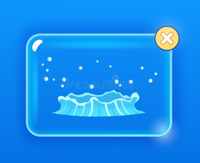 Flujo azul del géiser de agua de debajo el dibujo de la tierra stock de ilustración