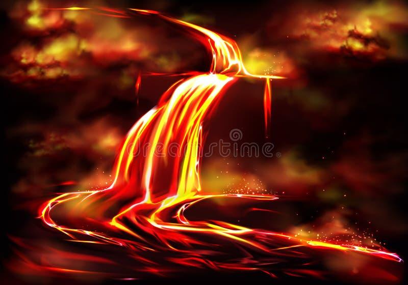Flujo caliente del magma causado por vector de la actividad volcánica ilustración del vector