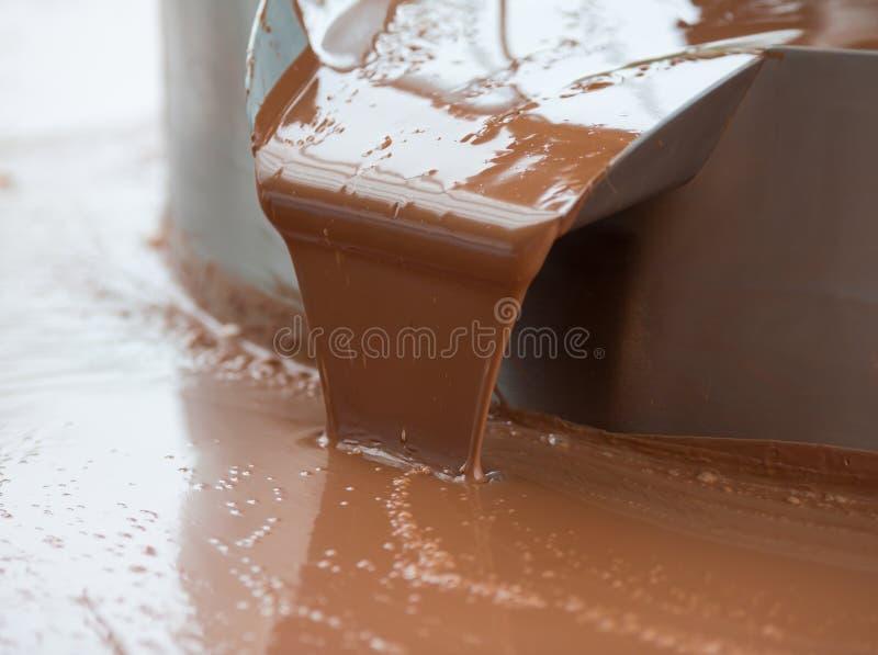 Flujo caliente o corriente del chocolate con leche en fábrica foto de archivo libre de regalías