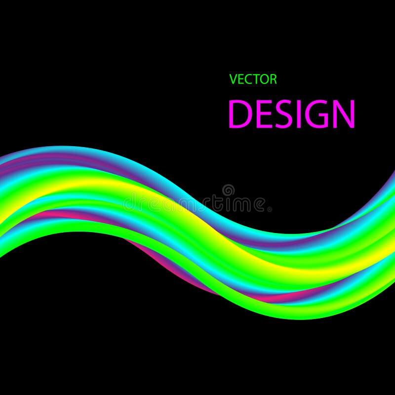 Flujo coloreado brillante de la pintura acrílica El extracto agita en un fondo negro libre illustration