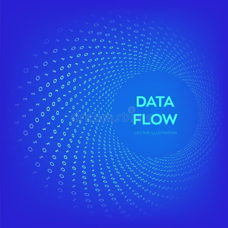 Flujo de datos C?digo de Digitaces Flujo de datos binarios Datos grandes Deformaci?n virtual del t?nel Cifrando, programando o co stock de ilustración