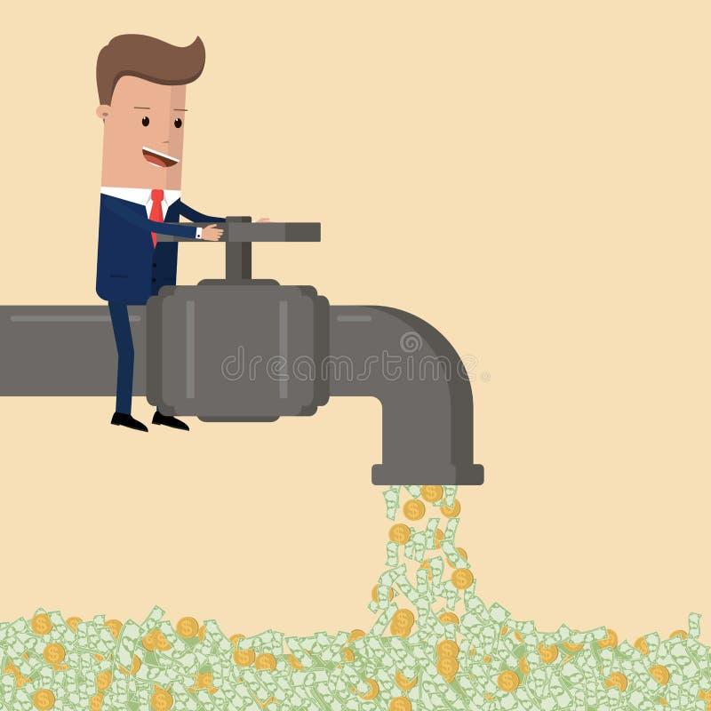 Flujo de dinero abierto del hombre de negocios del grifo Ilustración del vector stock de ilustración