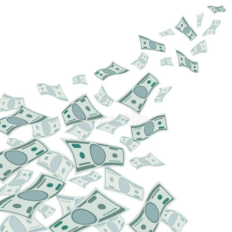 Flujo de dinero, moneda descendente de los dólares en el ejemplo blanco del vector ilustración del vector