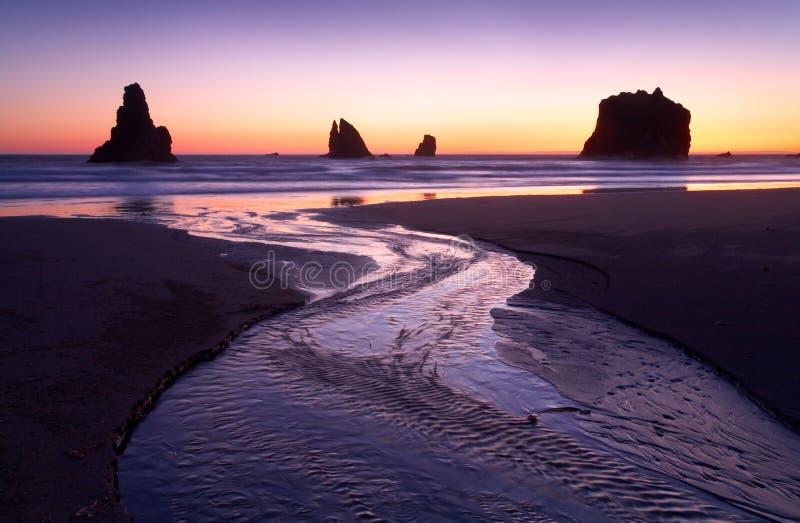 Flujo de la puesta del sol foto de archivo libre de regalías