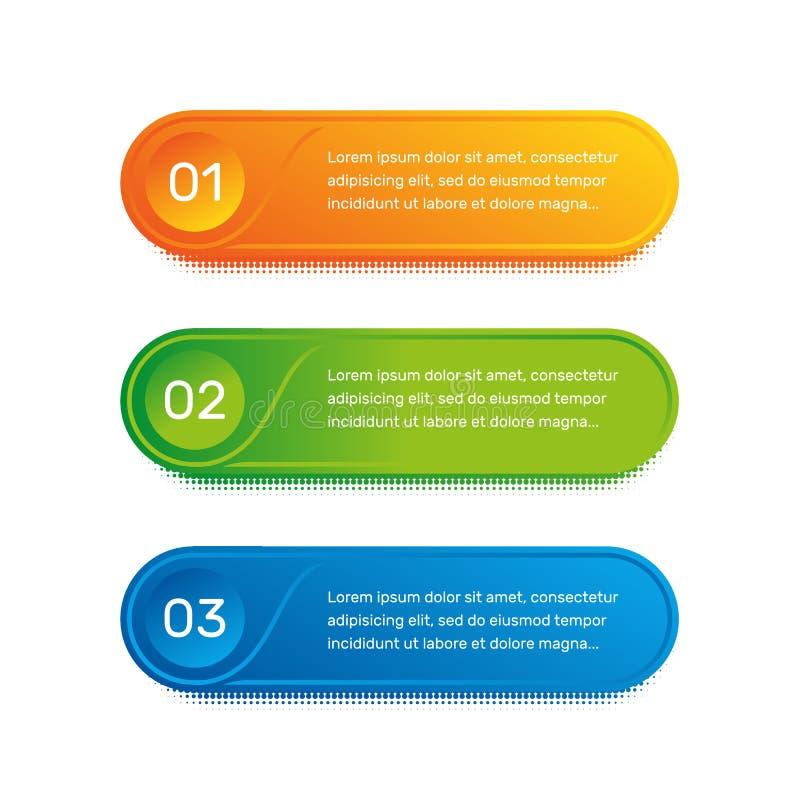 Flujo de trabajo de la disposición Menú colorido del esquema para el interfaz del app Opciones del número Diseño web de elementos ilustración del vector