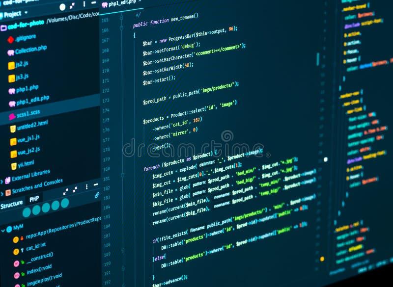 1 Flujo de trabajo final de la codificación del web que se convierte usando lengua del PHP Concepto de programación imagen de archivo